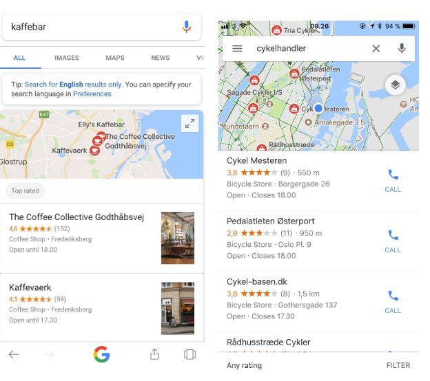 Google maps resultater