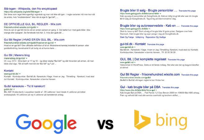 Søgeresultater i google og bing
